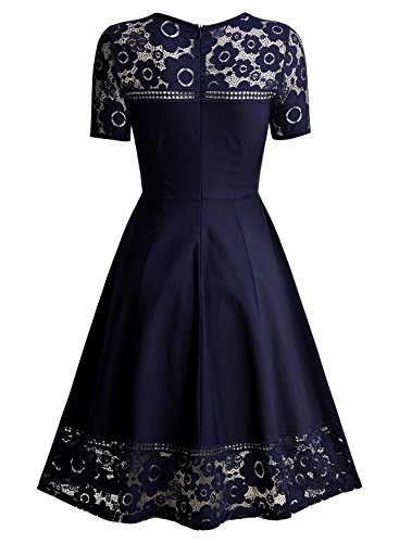 MissMay Women's Vintage 1950s Floral Lace Contrast Elegant Cocktail Swing Dress Navy Blue XX-Large by MissMay (Image #4)