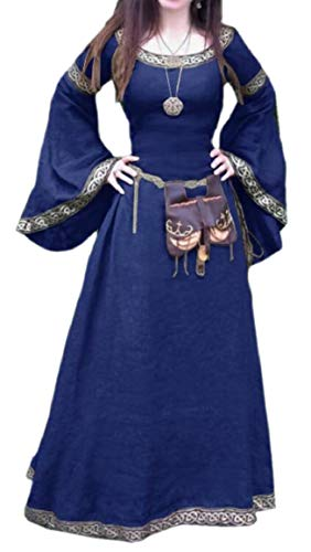 (HTOOHTOOH Women's Medieval Plus-Size Halloween Horn Sleeve Costume Party Dress Blue)