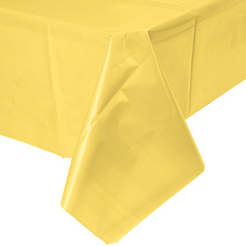 Creative Converting Touch of Color Plastic Table Cover, 54 by 108-Inch, Mimosa ()