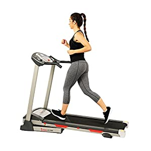 Sunny Health & Fitness SF T7603 Electric Treadmill w/ 9 Programs, 3 Manual Incline, Easy Handrail Controls & Preset Button Speeds, Soft Drop System