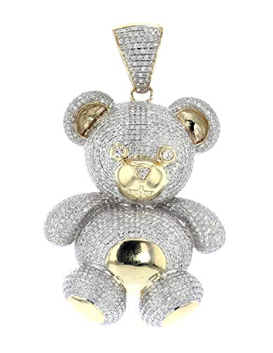 Midwest Jewellery 10K Gold Diamond Bear Pendant Teddy Bear with Diamonds Large 3.3ctw Diamonds 2.25