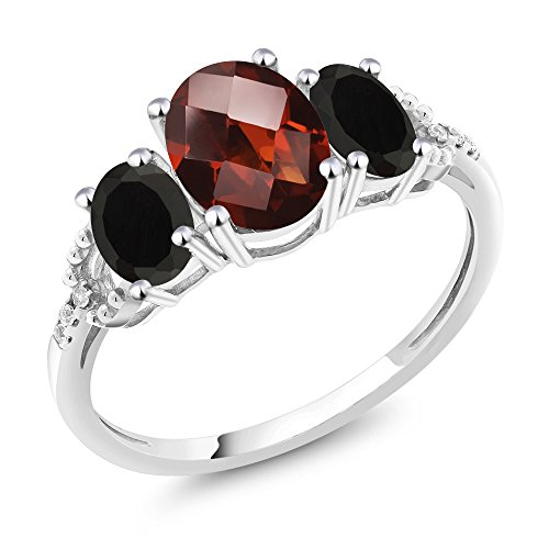 - Gem Stone King 10K White Gold Diamond Accent 3-Stone Engagement Ring set with 2.23 Ct Oval Checkerboard Red Garnet & Black Onyx (Size 8)