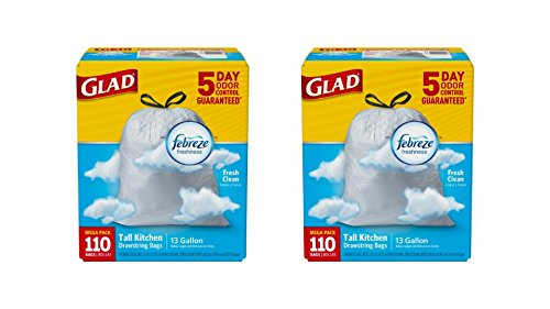 Glad OdorShield Tall Kitchen Drawstring Trash Bags, 5 Days Odor Control Febreze Fresh Clean, 13 Gallon Capacity 110 per pack, pack of 2
