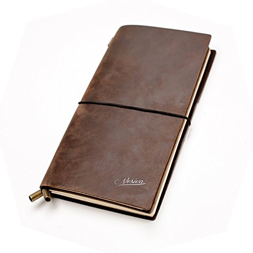 Journal Notebook Handcrafted Travelers Notebook Refillable Leather Journal with 2 Card Slots