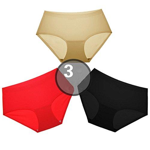 POKWAI Calzoncillos Sin Fisuras Icestroke Mujer Pan Puro Algodón De La Entrepierna Negros En El Triángulo De La Cintura 3 Paquetes A4