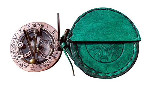 MAH Handmade Brass Sundial Compass Beautiful Gift Item with Leather Box. C-3058-A by MAH