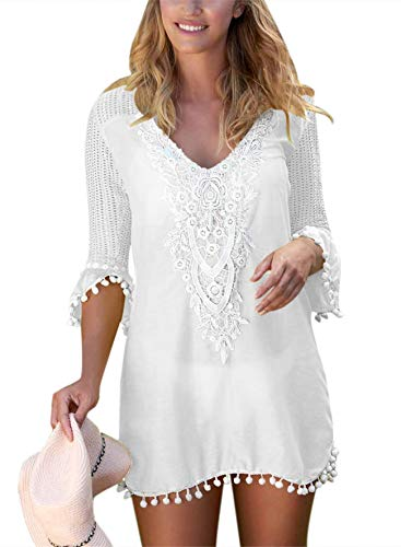 ELF QUEEN White Cover Ups Dress for Swimwear Women Summer Casual Beachwear Crochet Chiffon Tassel Swimsuit -