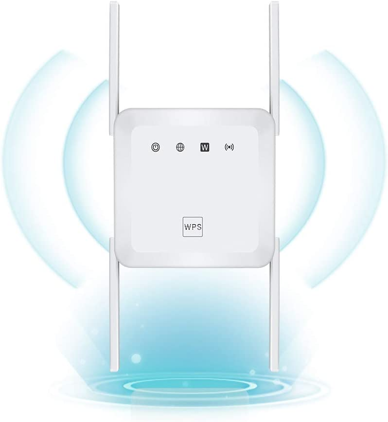 1200Mbps WiFi Range Extender Wireless Signal Repeater Booster, Dual Band Expander, 4 Antennas 360° Full Coverage, Extend WiFi Signal to Smart Home & Alexa Devices (White)