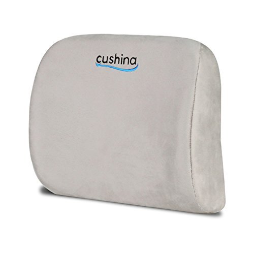 Cushina Premium Lumbar Support Cushion for Back Pain Relief – Soft Foam with Firm Support. Promotes Healthy Posture. Protects Lower Back. Portable and Adjustable. Great for Office, Car, Travel. (Heat Soothe Back Support)