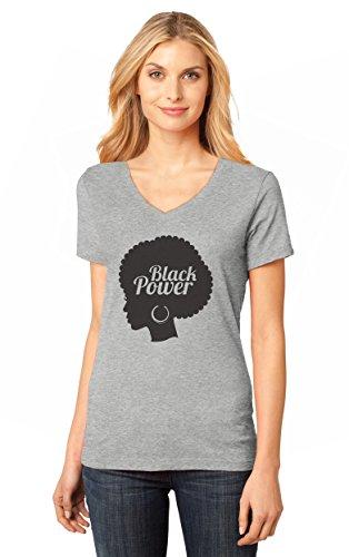 Month Womens V-neck T-shirt (Black Woman Afro - Black History Month Nah Black Power V-Neck Women T-Shirt XX-Large)