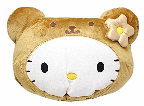Hello Kitty Plush Head - Hello Kitty Wearing a Teddy Bear Costume Plush Headrest Pillow
