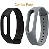 Mi cosa Grey and Black Combo Silicon Straps for mi Band 2/HRX (NOT for mi Band 3/4) Silicone TPU replacable Strap for xiaomi mi Band 2 and HRX Edition