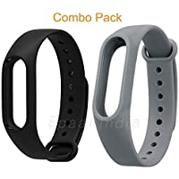 MI cosa Black and Grey Combo (only for mi Band 3, 3i and 4) Adjustable Xiaomi Mi Band 3/ Mi Band 4 Watchband Silicone Strap Black and Grey Colour Band Bracelet (Not Compatible with Mi Band 1/2/HRX)