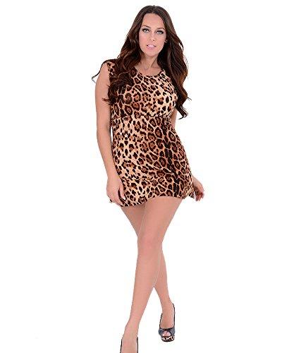 ZEARO Damen sexy Minikleid mit Leoparden Muster