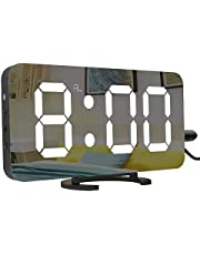 Digital Alarm Clock, 6.5'' Large Display Alarm Clock with Dual USB Charger Port, Dimmer and Big Snooze, LED Clock with Mirror Surface, Suitable for Bedroom, Home, Office Décor