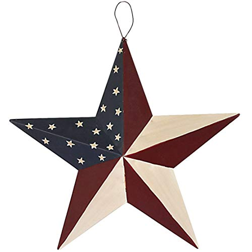 Americana Metal Barn Star, American Patriotic Star Wall Decoration Outdoor Indoor Hanging Wall Decor Star Ornament 12inch (American Barn -