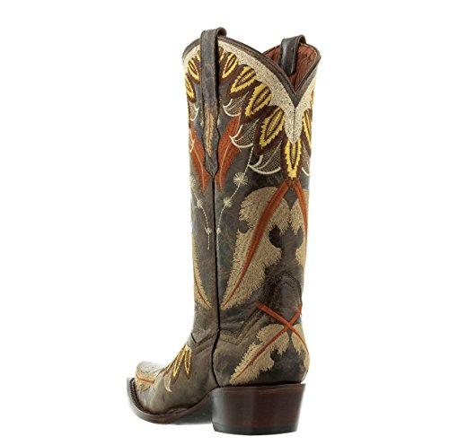 Cowboy Professional Mujeres Feather Embroidery Leather Cowboy Cowgirl Botas Marrón