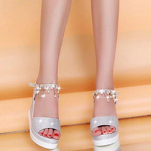 Blateado Pumps Altos la Las Toe Mujeres Tacones Hebilla cuña Sandalias Colgando Perlas de Underdressed Moda de Correa Peep Cuesta B4dAxw6qU