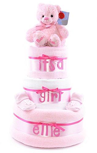 Rosa Niñas 3 Tier personalizado - tarta de pañales - Baby Shower regalo Hamper - rápido y entrega gratuita.: Amazon.es: Bebé
