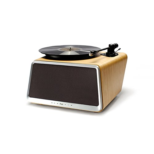 Superior Vinyl Record Player,HYM Originals Seed All in One Record Player Stereo Audio Smart Vinyl Records Turntable Built in 80Watt HiFi Speakers Bluetooth Wifi AUX-in USB White Oak Case by HYM Originals