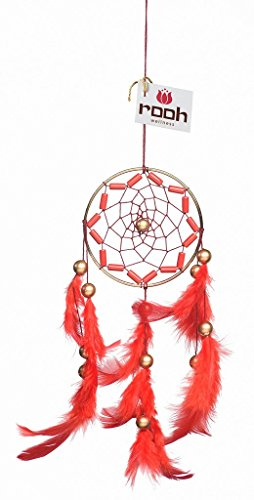 Rooh Dream Catcher ~ Crafty Red ~ Handmade Hangings for Positivity (Used as Home Décor Accents, Wall Hangings, Garden, Car, Outdoor, Bedroom, Key chain, Meditation Room, Yoga Temple, Windchime) (red) ()