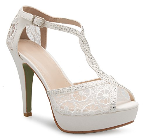OLIVIA K Women's Peep Toe Lace Bridal High Heel T-Strap Enjoyable Platform Pumps Sandals Shoes by OLIVIA K