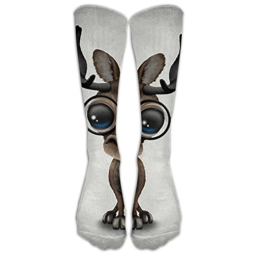 Cute Curious Baby Moose Nerd Wearing Glasses Compression Socks Football Socks Sports Stockings Long - Nerd For Toddler Glasses