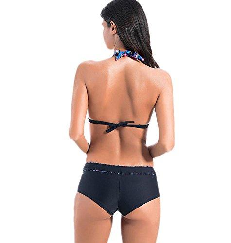 MIAO Stripe plana ángulo bikini traje de baño de moda con cojín de cojín de dos piezas de traje de baño black trousers