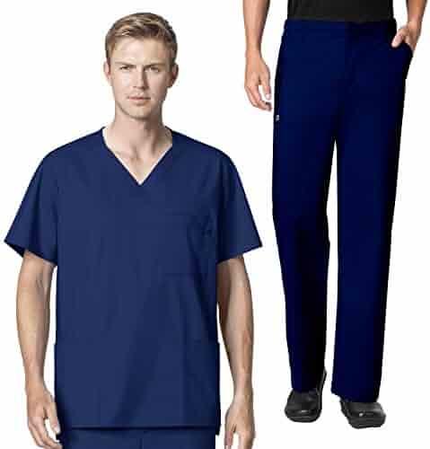 6df136b4290 WonderWork Men's V-neck Multi-Pocket Top & Men's Cargo Pant Scrub set [