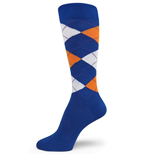 Spotlight Hosiery Men's Argyle Dress Sock Royal Blue/White/Bright Orange