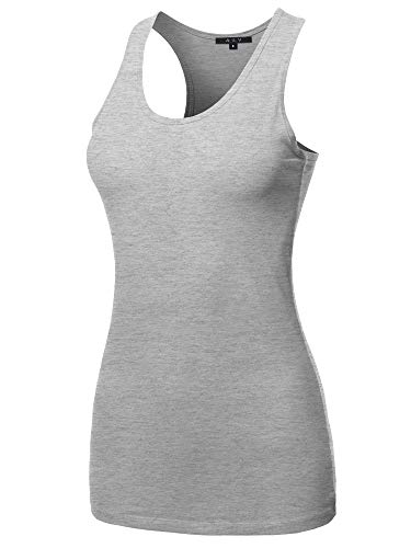 (A2Y Women's Basic Solid Soft Cotton Scoop Neck Racer-Back Tank Top Gray Size)