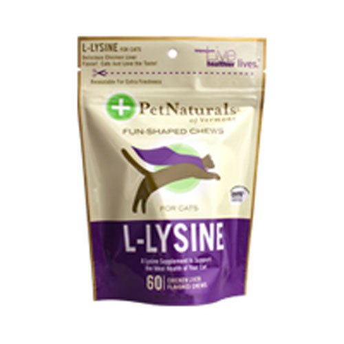 (Pet Naturals of Vermont L-Lysine 60 Fun-Shaped Chews for Cats - 3 pack)