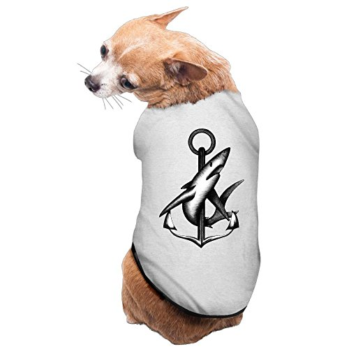 WUGOU Dog Cat Pet Shirt Clothes Puppy Vest Soft Thin Anchor Shark 3 Sizes 4 Colors Available ()