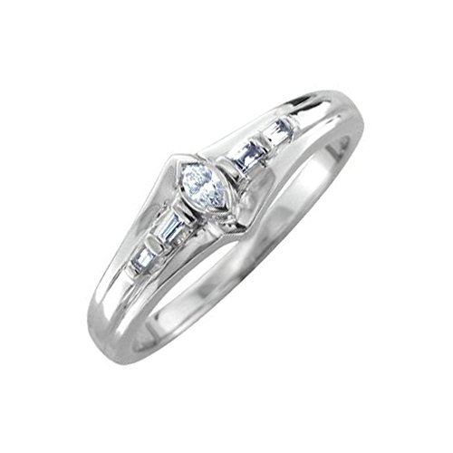 10k White Gold Marquise and Baguette Diamond Ring Band (1/10 Carat)