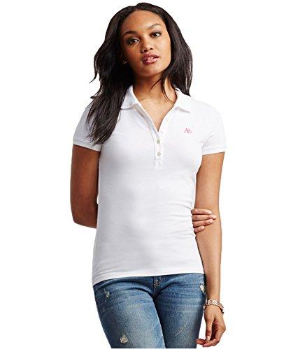 Aeropostale Womens A87 Polo Shirt, White, ()