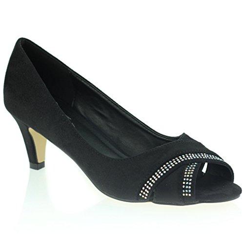 Mujer Señoras Noche Casual Diamante Cross Over sobre Peeptoe Tacón Medio Sandalias Zapatos Talla Negro