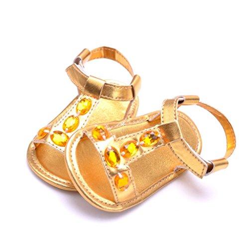 Igemy 1Paar Kleinkind Sommer Baby Jungen Mädchen Krippe Kristall Anti-Rutsch Baby Sneakers Sandalen Schuhe Gold