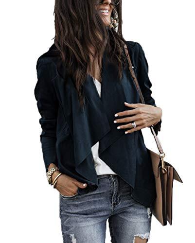 (XARAZA Women's Open Front Faux Suede Jacket Outerwear (L, Black))