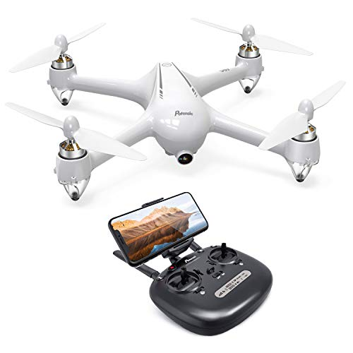 Potensic D80 GPS Drone, RC with 1080P Camera Live Video, Strong Brushless Motors, GPS Return Home, 25 mph High Speed 5.0GHz Wi-Fi Gyro Quadcopter, White ()