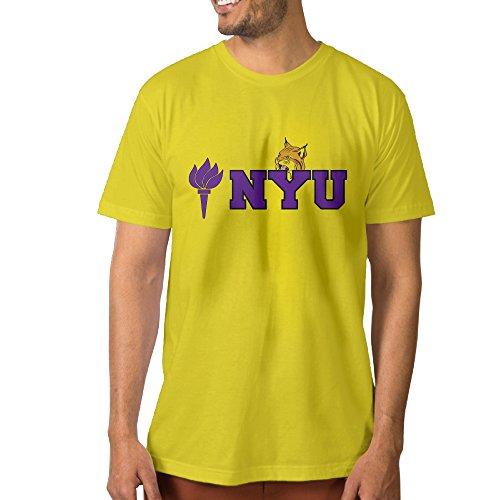 HOHOE Men's Make Your Own Tee Shirt New York University And Bobcat L Yellow
