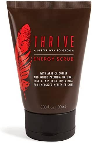 Thrive Natural Men's Face Scrub – Exfoliating Facial Cleanser for Men with Unique Premium Natural Ingredients for Energized Healthier Skin – Unclogs Pores & Helps Prevent Ingrown Hairs