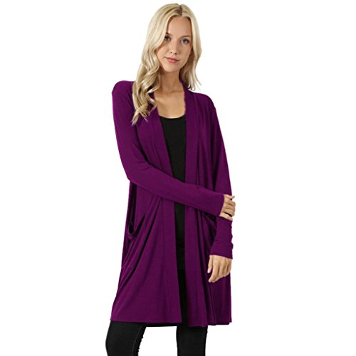 Vovotrade Hot Sale Womens Open Front Solid Cardigan Casual Sweater Long Sleeve Plus Pockets Loose Drape Blouse (M, - On Sale Guess