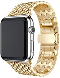 Metal Strap Link Bracelet Bands for Apple Watch iWatch Series 4/3/2/1 42mm Gold