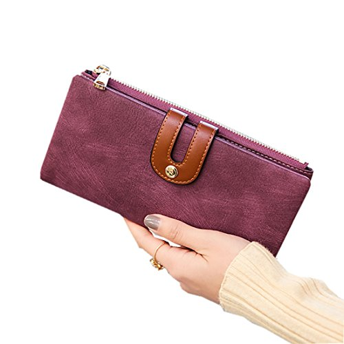 4f07dd8caf77 Women's RFID Bifold Leather Wallet Ladies Mini Purse with id Window Zipper  Pocket for Coin Card