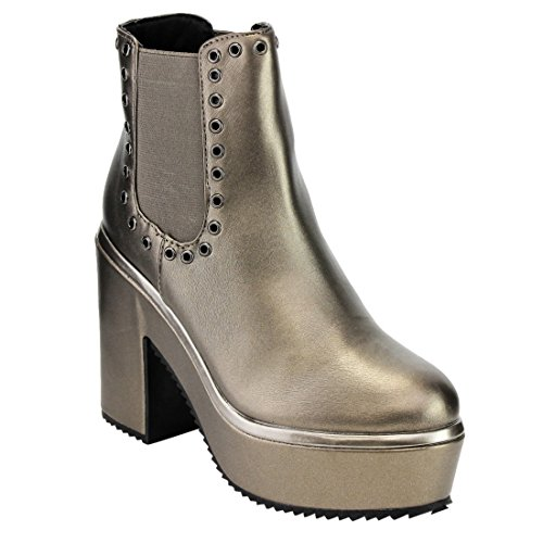 Metallic Studded Platform Block Heel Chelsea Ankle Booties, Color Pewter, Size:8.5 (Leather Color Block Platform)