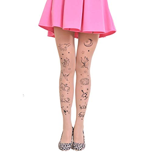 Womens Winter Hosiery - Tattoo Stockings Pantyhose Opaque Sweater Tights Brief Pantyhose Tights, Twelve Constellations Nude N (Womens Tattoo Tights)