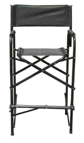 Impact Canopy Tall Director s Chair, Folding Heavy-Duty Aluminum Frame, 47 Inches, Black, Set of 2