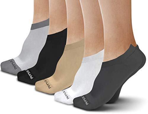 Physix Gear Sport 3 Pairs No Show Socks Women & Men - Best Invisible Low Cut Socks ()
