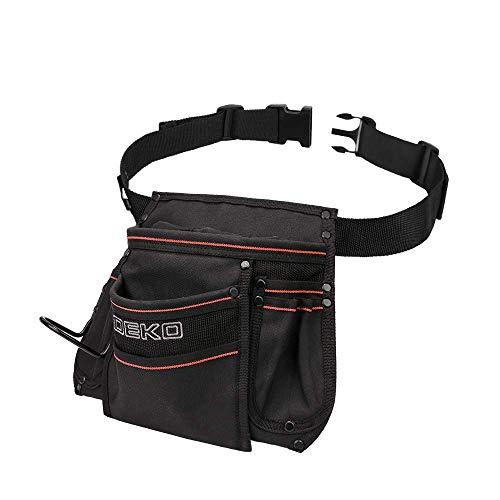 DEKO Tool Pouch with Belt 12 Pockets Electrician Tool Carpenter Nail Waist Bag 600D Oxford cloth Black by DEKO (Image #2)