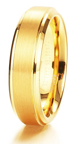 King Will Glory Womens Mens 6mm Matte Brushed Tungsten Carbide Ring 14K Yellow Gold Wedding Band Comfort Fit 7.5
